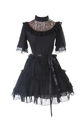 JL-623-1 Schwarz Chiffon Spitze Vampir Dark Gothic Kurzarm Lolita Abend-Kleid