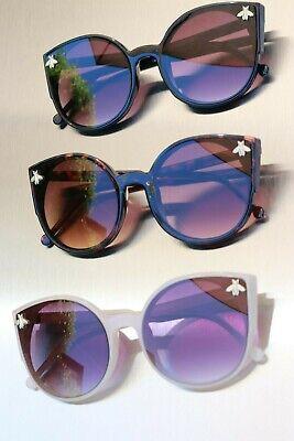 Cat Eye Retro Fashion Designer Moth Bug Sunglasses Flat Lens
