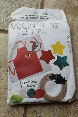 McCalls Sewing Pattern 0012 quick picks apron ornament dog bed wreath hat tie