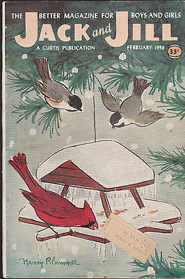 Jack and Jill Magazine Birds at Feeder Cover Nancy Plummer February1958