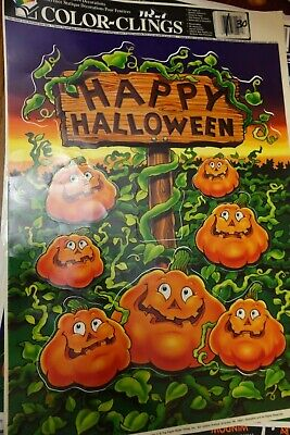 Halloween Decorations Coloring Pages (1 page Vintage Color Clings Pumpkins Halloween Window Clings)