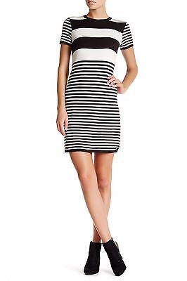 Eliza J SOFT! Stripe Sheath Dress 12 Black and Ivory short sleeve NEW - Eliza Stripe