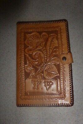 Vintage Leather Journal Cover Notebook Pocket Notepad Tooled 8.5x5 T.v.