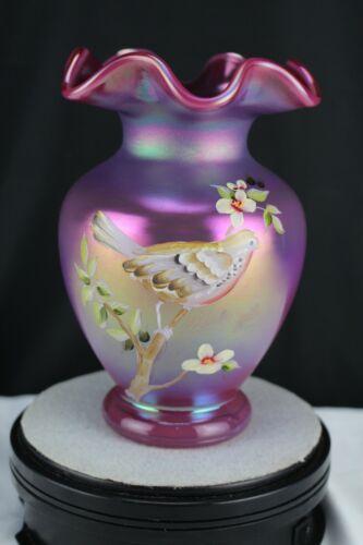 Fenton Art Glass Flower Vase-Satin Raspberry Carnival Glass-Dogwood & Songbird