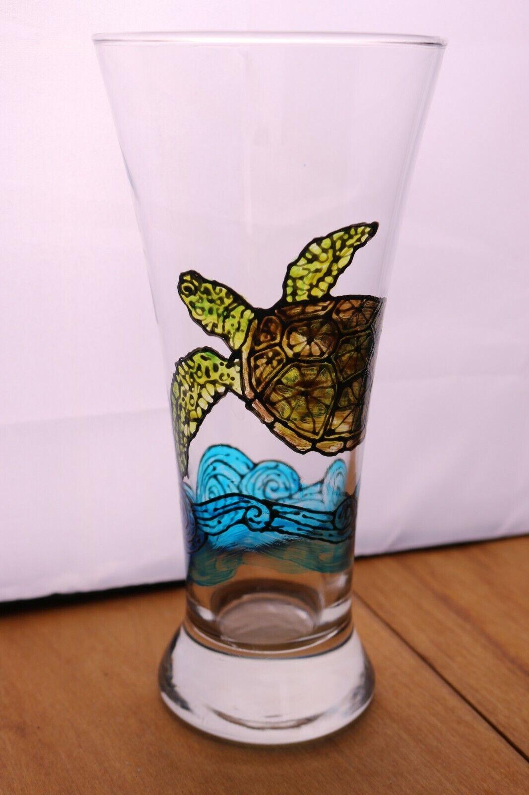 Hand Painted Sea Turtle Pilsner Beer Glass 8 Signed Beach Tropical Barware - $12.00