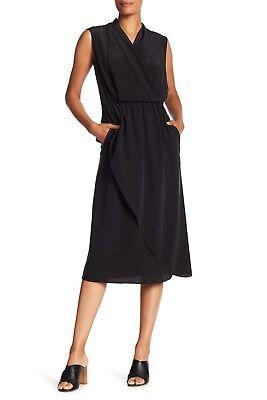 - $395 Vince Draped Silk Cross-Front Midi Dress Women's size M Black #8447