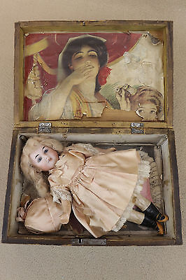 """8-1/2"""" antique bisque head composition German Doll with wooden box for """"TLC"""""""