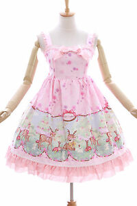 JSK-08 Baby Reh Deer Wald Rosa Pastel Gothic Lolita Kleid Stretch dress Cosplay