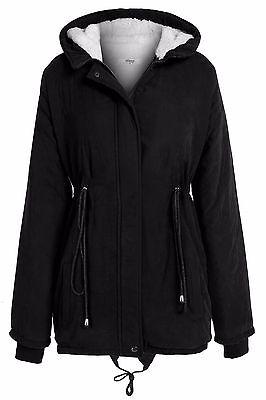 Fashion Women Casual Long Sleeve Zipper Fleece Hooded Coat Jacket Parka Trench