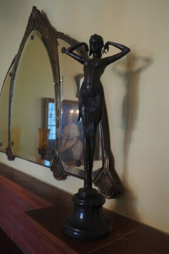 "Amazing  19"" Art Deco Bronze Sculpture With Marble Base"