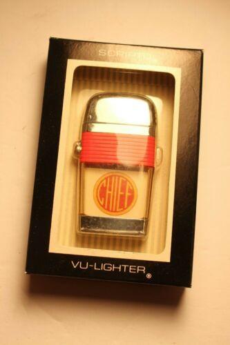 Vintage Scripto Vu Cigarette Lighter Fire Chief Blaring Horns Mint In Box Label