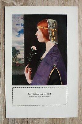 Nelke Blatt (Kunstdruck 1 Blatt 1908/09 Mädchen mit der Nelke nach Prof Fritz Fleischer Frau)