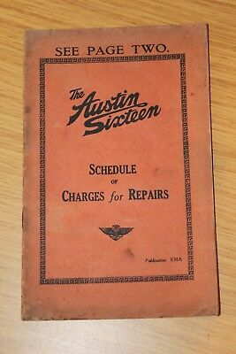 Austin Fourteen Price List Of Spare Parts 834A Feb 1933