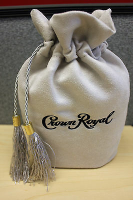 CROWN ROYAL MONARCH SILVER DRAWSTRING TASSELS 75TH ANNIVERSARY BOTTLE BAG