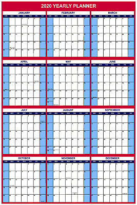 2020 Large Wall Dry Erase Office Vertical Calendaryearly Planner 24x36