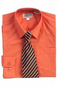 Boys Coral  Long Sleeve Button Down Dress Shirt & Tie Toddler,Kids,Boys Us Shipr