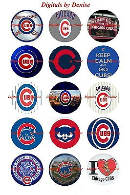 Chicago Cubs 1  Circles  Bottle Cap Images   2 45  5 50     Free Shipping