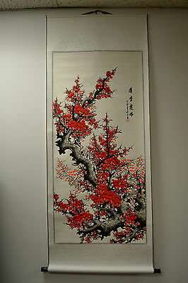 "Chinese Scroll Painting Home Decor Cherry Blossom 68""L 73-128"