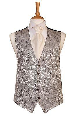 Herren Silbergrau Paisley Hochzeitskleid Anzug Weste Größe 38 40 42 44 46 (B5)