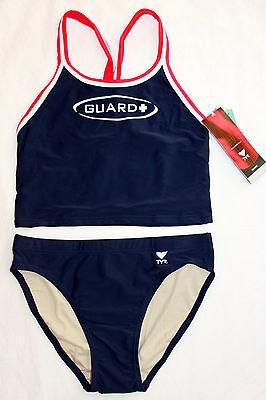 New Womens TYR Navy Blue 2 pc Swim Suit Workout Tankini Guard Diamaxback  MEDIUM