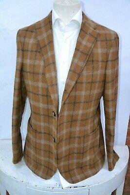 NWT THE GIGI check brown/beige 3 roll 2 wool jacket size us 42 eu 52