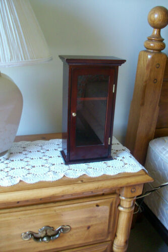Vintage Wood and Glass small Curio Cabinet...Wall...Cherry wood