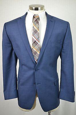 (40R) Calvin Klein Men's Blue Wool MOD SLIM FIT Flat Front 2 Piece Suit (34x32)
