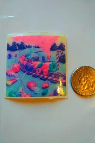80s Vintage sticker colorful rainbow Lisa Frank candy train -light version 1982