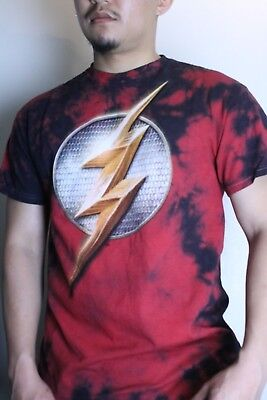 The Flash Justice League Graphic Short Sleeve Shirt Tie dye Authentic DC Comics