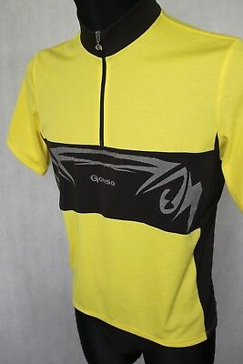 GONSO  Retro Vintage Cycling Jersey Top Short Sleeve sz M Yellow Black a50609122