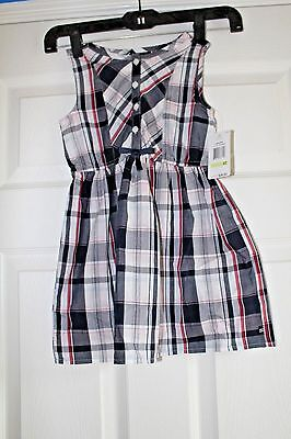 Nautica girls size 4T casual dress plaid red white blue lightweight  NWT summer