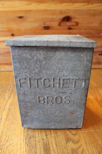 Vintage Fitchett Bros. Milk Dairy Box Galvanized Porch Storage Milkman Delivery