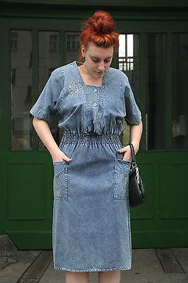 Kleid blau 80er True VINTAGE 80´s womens jeans dress blue (Blue Belle Kleid)
