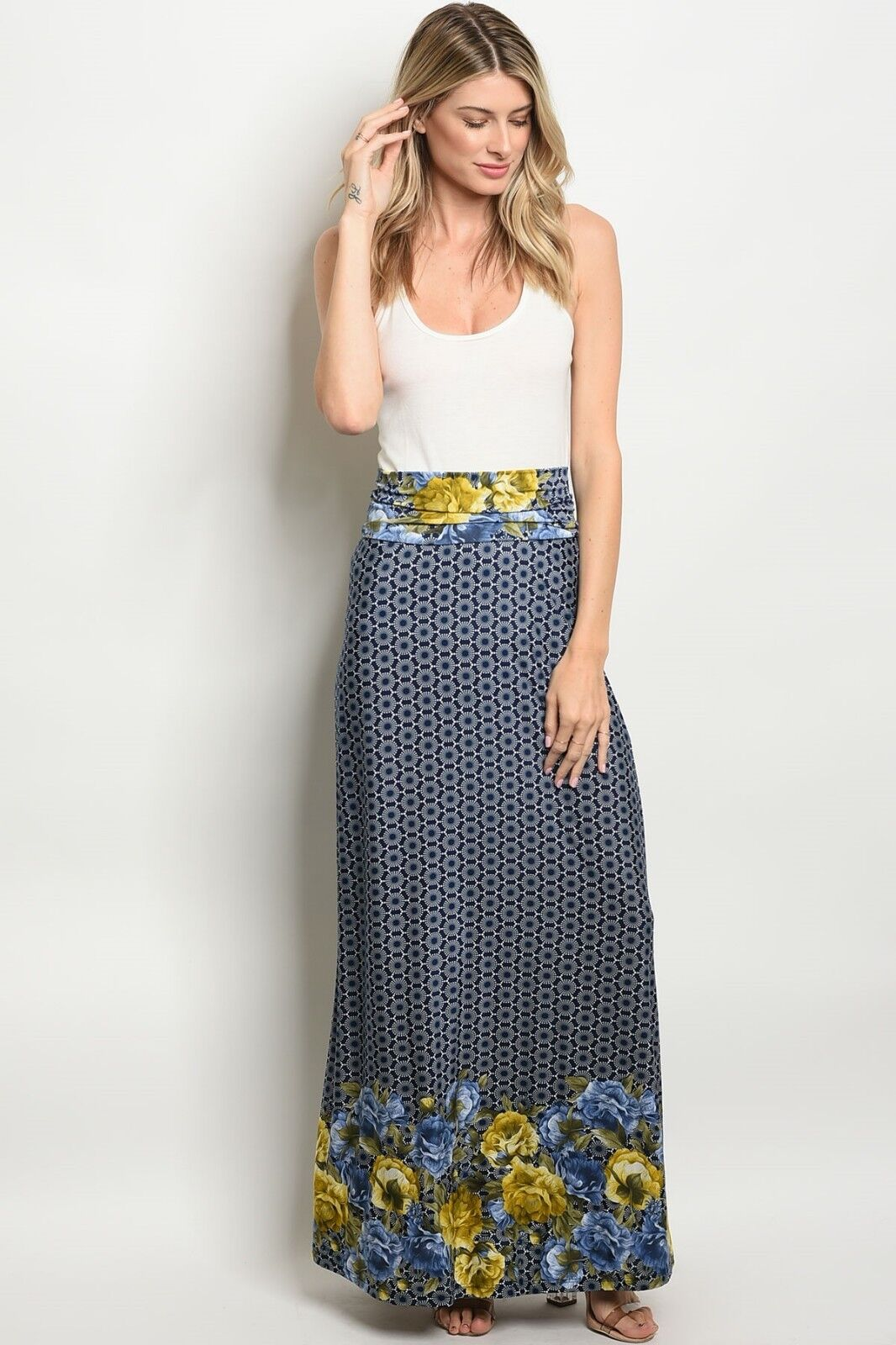 406176dee1a Details about Stylish and Beautiful Banded Waist off Navy Blue Floral Print Maxi  Skirt Long