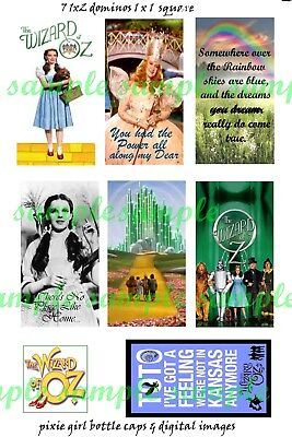 "Wizard of Oz  Dorothy 7 1""x2"" Domino or Dog Tag or Jewelry Photo Images  1- 1x1"