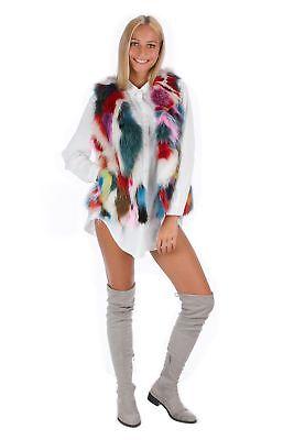 Colorful Fox Vest Fashion Multicolour Fur Style Blogger Fur 38 - 40 Fur Vest МЕ