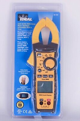 Ideal 61-747 Digital 400a Acdc Trms Clamp Meter W Leads Multimeter New