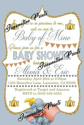 Dumbo Baby Shower Invitation - Dumbo Baby Shower