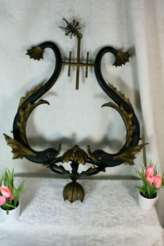 Antique cast iron italian dolphin fish chandelier lamp rare