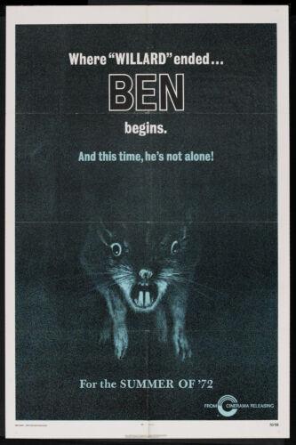 BEN/WILLARD orig advance 1972 HORROR one sheet movie poster RATS/MICHAEL JACKSON