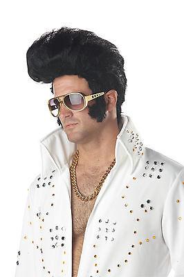 Adult 60s 70s Black Rock n' Roll Elvis Presley Costume Wig