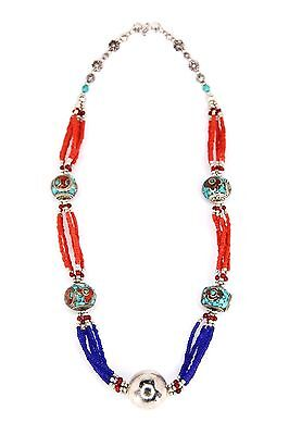 HANDCRAFTED BEADY TIBETAN SILVER CORAL TURQUOISE & CARNELIAN NECKLACE  NEPAL