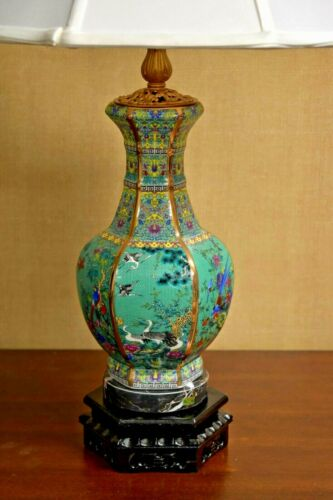 """28"""" VERY FINE CHINESE PORCELAIN HEX. VASE LAMP TURQUOISE- ASIAN CLOISONNE STYLE"""