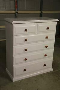 Solid timber white 6 drawers tallboy can deliver