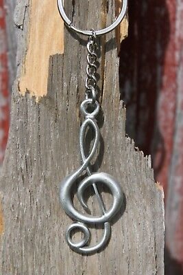 Hastings Pewter Lead Free Pewter Treble Clef Music Note Keychain gift key chain