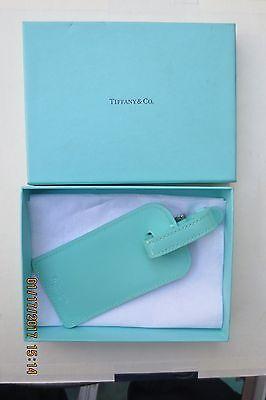 TIFFANY & CO LUGGAGE LEATHER TURQUOISE NAME TAG ID HOLDER W/ORIG BOX UNUSED