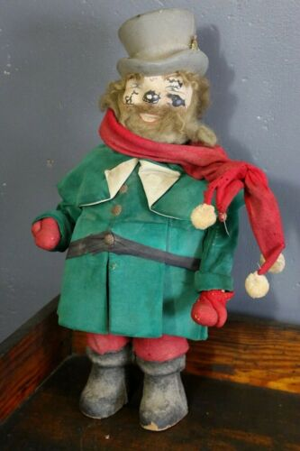 Vintage Christmas Caroler Doll w Top Hat Scarf, Paper Mache face, antique old