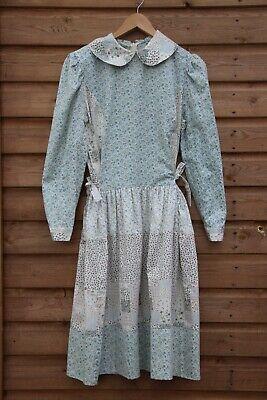 Vintage 70s Patchwork Blue Floral Cotton Boho Hippie Prairie dress L 14