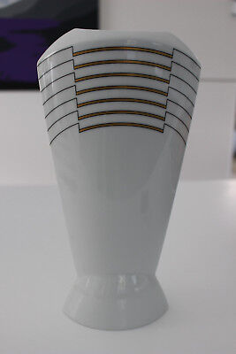 ROSENTHAL - Studio-Line Tall White Vase with black gold design by Josep Llusca