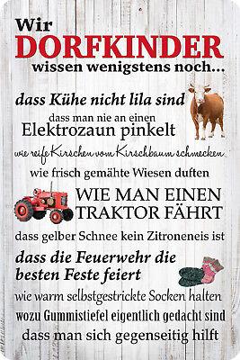 Wir Dorfkinder - Blechschild 20x30 cm - Feuerwehr Traktor Dorfkind PC300-420